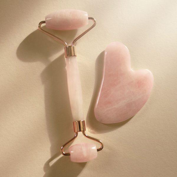 rullo quarzo rosa e pietra gua-sha